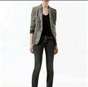 Zara jogging blazer leopard animal print